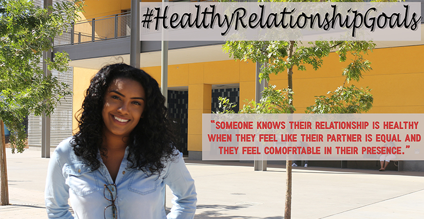 Jasmine standing in front of COB 2 and saying her definition of a healthy relationship